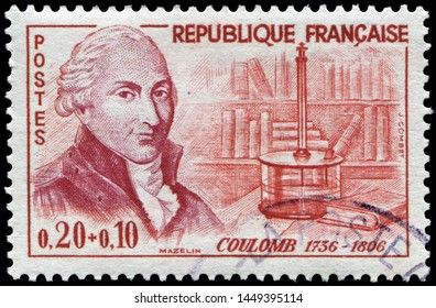 Paris, France - May. 20, 1961: Charles Coulomb(1736-1806), French physicist and military engineer, most famous for his work with electricity and magnetism. Stamp issued by French Post in 1961.
