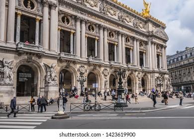 PARIS, FRANCE - MAY 20, 2019: Opera National de Paris: Grand Opera (Garnier Palace) is famous neo-baroque building in Paris, France - UNESCO World Heritage Site.