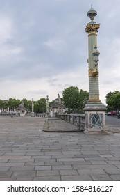 PARIS, FRANCE - MAY 20, 2019: View of famous Place de la Concorde. The Place de la Concorde is one of the major public squares in Paris.