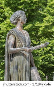 PARIS, FRANCE - MAY 20, 2019: Monument of Human Rights (Monument des Droits de l'Homme, 1989) in Paris gardens of Champ-de-Mars.