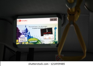 Paris, France - May, 2014: Information screen on Roissybus. Roissybus is a direct bus between the centre of Paris and Roissy Charles de Gaulle Airport.