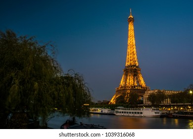 Paris, France; May 2016: Eiffel tower at sunset