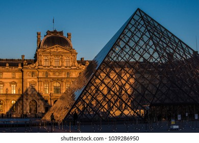 Paris, France; May 2016: Louvre Museum at sunset