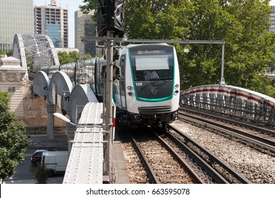 Paris (France), may 2017. New metro train MF2000 traveling on line 5 of the Paris subway network