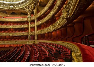 PARIS, FRANCE - MAY 21, 2014 : Inside the auditorium of the Opera Garnier - Shutterstock ID 199170845