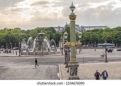 PARIS, FRANCE - MAY 21, 2019: View of famous Place de la Concorde. The Place de la Concorde is one of the major public squares in Paris.