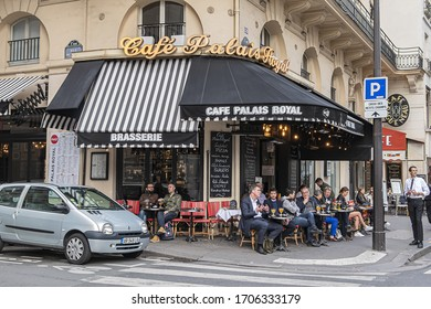 Paris, France - May 21, 2019: Famous Cafe Palais Royal located in the first arrondissement, in the city epicenter at Rue Saint Honore.
