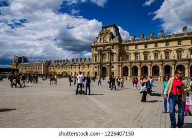 Paris, France - May 22, 2014: View of the facade of the Louvre museum in Paris France