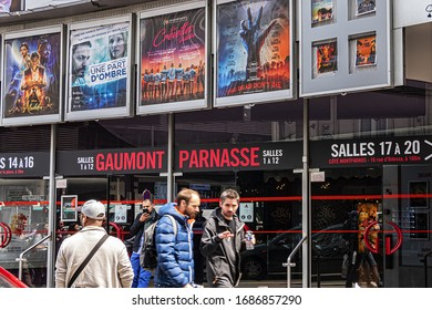 PARIS FRANCE - MAY 22, 2019: Gaumont Parnasse - Cinema in Odessa street (Rue d'Odessa) in the 14th arrondissement, very close to Tour Montparnasse and Montparnasse train station.