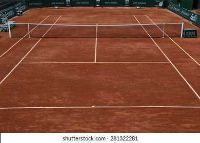 PARIS, FRANCE- MAY 23, 2015 Clay court ready for Roland Garros 2015 at Le Stade Roland Garros in Paris, France