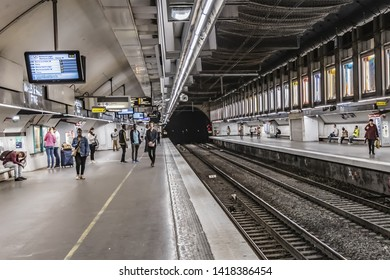 PARIS, FRANCE - MAY 23, 2019: Interior of Charles de Gaulle-Etoile RER station (metropolitan underground transportation of Paris). Station called simply Etoile, after its location at Place de l'Etoile