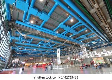 PARIS FRANCE - MAY 23, 2019: Unidentified people visit Centre Pompidou art museum Paris France