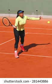 PARIS, FRANCE- MAY 24, 2015:  Nineteen times Grand Slam champion Serena Williams practices for Roland Garros 2015 in Paris, France