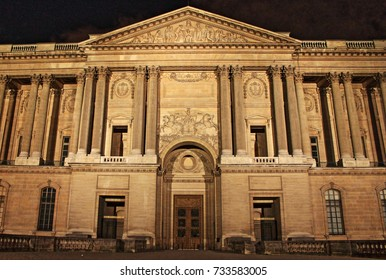 PARIS, FRANCE - MAY 24, 2015: View of Perrault's Colonnade by night in Louvre Museum. Louvre Museum is one of the largest and most visited museums worldwide