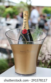 PARIS, FRANCE- MAY 24, 2015:Moet and Chandon champagne presented during Roland Garros 2015 in Paris, France Moet and Chandon is the official champagne of theRoland Garros