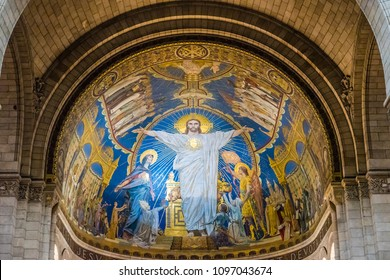 PARIS, FRANCE - MAY 24, 2016: Interiors of the Sacre Coeur Basilica in Paris, France. Paris is the capital and most populous city of France.