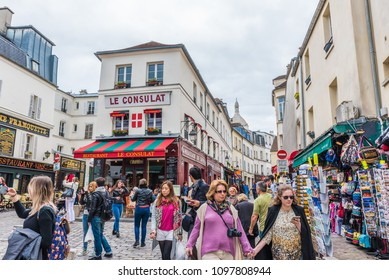 PARIS, FRANCE - MAY 24, 2016: Street view of Montmartre area in Paris, France. Paris is the capital and most populous city of France.