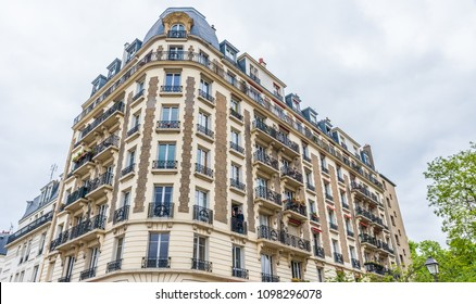 PARIS, FRANCE - MAY 24, 2016: Typical residential apartment building in Paris, France. Paris is the capital and most populous city of France.
