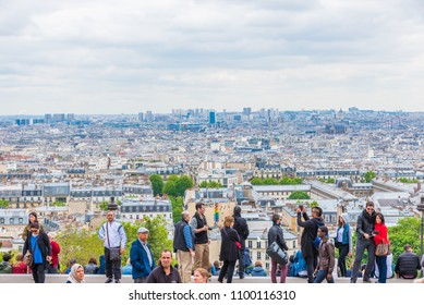 PARIS, FRANCE - MAY 24, 2016: Cityscape of Paris from Montmartre  in France. Paris is the capital and most populous city of France.