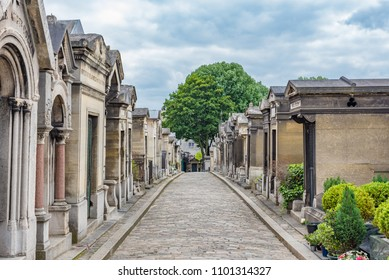PARIS, FRANCE - MAY 24, 2016: View of the Montmartre Cemetery in Paris,  France. Paris is the capital and most populous city of France.