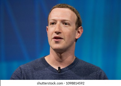 PARIS, FRANCE - MAY 24, 2018 : Facebook CEO Mark Zuckerberg in Press conference at VIVA Technology (Vivatech) the world's rendezvous for startup and leaders.