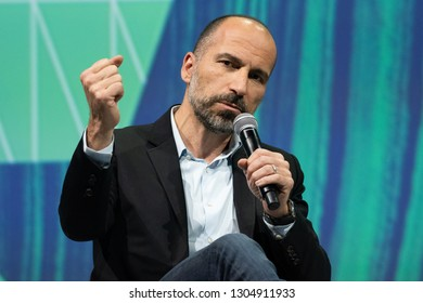 PARIS, FRANCE - MAY 24, 2018 : Uber CEO MDara Khosrowshahi in Press conference at VIVA Technology (Vivatech) the world's rendezvous for startup and leaders.