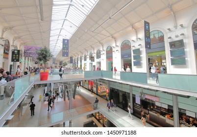 PARIS FRANCE - MAY 24, 2019: Unidentified people travel at Saint Lazare train station Paris France