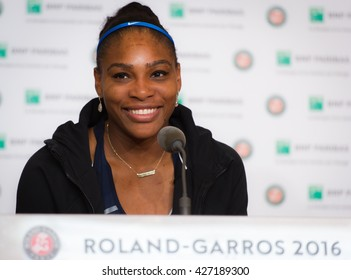 PARIS, FRANCE - MAY 24 : Serena Williams talks to the media at the 2016 French Open