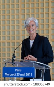PARIS, FRANCE - MAY 25, 2011 : Christine Lagarde during press conference to announce his candidacy for President of the IMF
