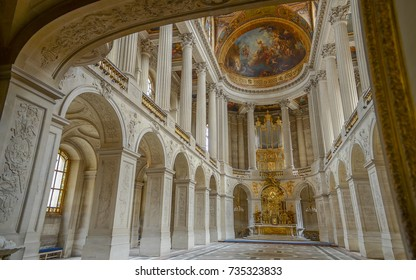Paris, France - May 25, 2014 : The royal chapel (Chapelle royale), the residence of the sun king Louis XIV. Great Hall Ballroom in Versaille Palace, UNESCO World Heritage List.