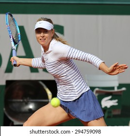 PARIS, FRANCE- MAY 25, 2015:Five times Grand Slam champion Maria Sharapova in action during her first round match at Roland Garros 2015 in Paris, France