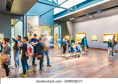 PARIS, FRANCE - MAY 25, 2016: Interior of the Musee d'Orsay in Paris, France. The Musee d'Orsay is housed in the former Gare d'Orsay, a Beaux-Arts railway station built between 1898 and 1900.