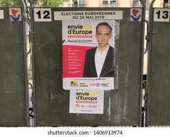 Paris, France - May 25 2019: Political billboard for Envie d'Europe, the Parti Socialiste list for European Parliament Elections 2019
