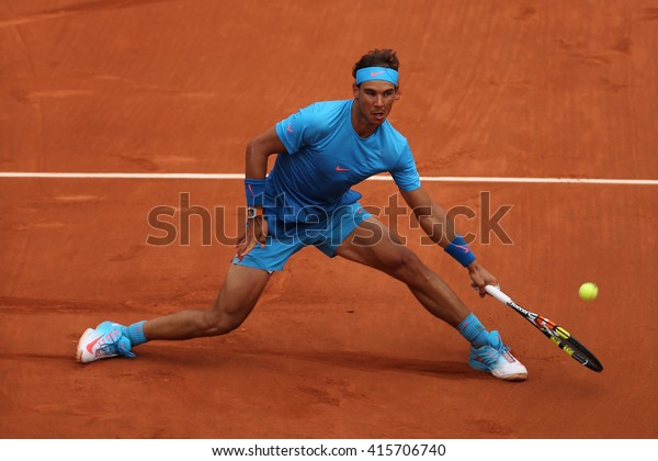 PARIS, FRANCE- MAY 26, 2015:Fourteen times Grand Slam champion Rafael Nadal in action during his match at Roland Garros 2015 in Paris, France