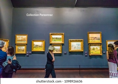 PARIS, FRANCE - MAY 26, 2016: Interior of the Musee d'Orsay in Paris, France. The Musee d'Orsay is housed in the former Gare d'Orsay, a Beaux-Arts railway station built between 1898 and 1900.