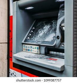 Paris, France - May 26, 2018: A vandalised Automatic Teller Machine in Paris following anti-government protests