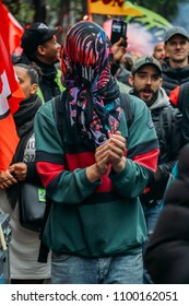 Paris, France - May 26, 2018: Protestors express their anger against French President Macro's government, among other issues, on the streets of Paris