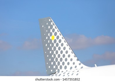 PARIS FRANCE - MAY 26, 2019: Vueling airline company log Spain