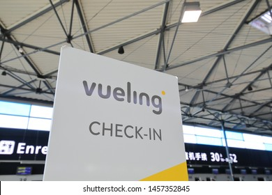 PARIS FRANCE - MAY 26, 2019: Vueling airline check in counter Charles de Gaulle airport Paris France