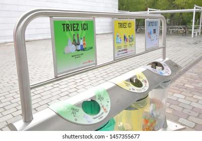 PARIS FRANCE - MAY 26, 2019: Recycle rubbish bin in Paris France