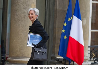 PARIS, FRANCE - MAY 27, 2011 : Christine Lagarde in french Ministry of economy during te G20 Finances in Paris.