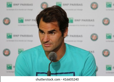PARIS, FRANCE- MAY 27, 2015: Seventeen times Grand Slam champion Roger Federer during press conference after second round match at Roland Garros 2015 in Paris, France