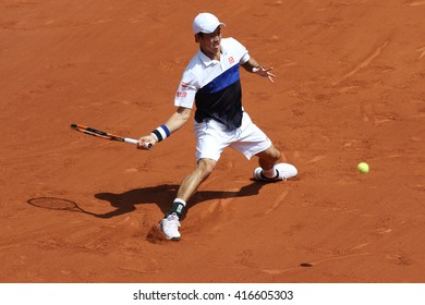 PARIS, FRANCE- MAY 27, 2015: Professional tennis player Kei Nishikori of Japan during second round match at Roland Garros 2015 in Paris, France