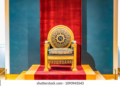 PARIS, FRANCE - MAY 27, 2016 : The Napoleon's Throne in the Apartments of Napoleon III. Louvre Museum is the biggest museum in word with nearly 35,000 exhibits.