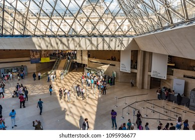 PARIS, FRANCE - MAY 27, 2016: INapoleon Hall of the Louvre Museum in Paris, France. The Louvre is the world's largest museum and a historic monument in Paris, France.