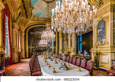 PARIS, FRANCE - MAY 27, 2016 : Apartments of Napoleon III. Large dining room. Louvre Museum is the biggest museum in word with nearly 35,000 exhibits.