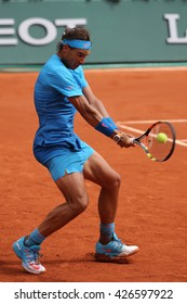 PARIS, FRANCE- MAY 28, 2015: Fourteen times Grand Slam champion Rafael Nadal in action during his second round match at Roland Garros 2015 in Paris, France
