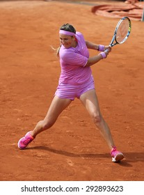 PARIS, FRANCE- MAY 28, 2015:Two times Grand Slam champion Victoria Azarenka of Belarus in action during her second round match at Roland Garros 2015 in Paris, France