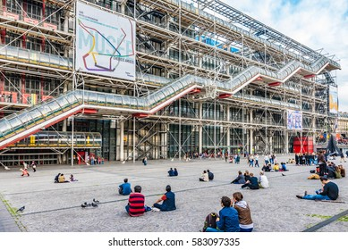 PARIS, FRANCE - MAY 28, 2016: The Centre Georges Pompidou in Paris, France. The Centre Georges Pompidou is a complex building in the Beaubourg area of the 4th arrondissement of Paris.