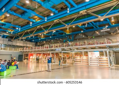 PARIS, FRANCE - MAY 28, 2016: Interior of the Centre Georges Pompidou in Paris, France. The Centre Georges Pompidou is a complex building in the Beaubourg area of the 4th arrondissement of Paris.